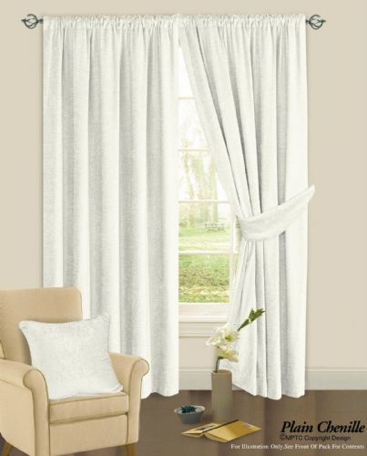 CREAM COLOUR PLAIN CHENILLE FABRIC PENCIL PLEAT FULLY LINED HEAVY READYMADE CURTAINS